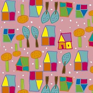 Tecido  -  Casinhas fundo rosa