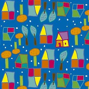 Tecido  -  Casinhas fundo azul