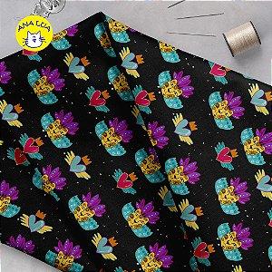 Tecido  -  Onça México fundo preto