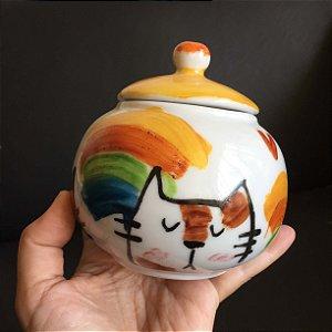 Açucareiro Gatinho e arco íris