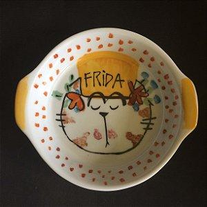 Travessa refratária  grande redonda Frida Gatinha