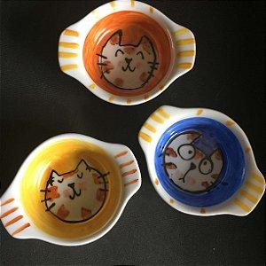 Conjuntinho de 3 mini travessas refratárias -  Gatinhos olhudos