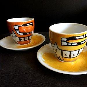 Conjuntinho 2 xicaras de chá  GAto Listrado