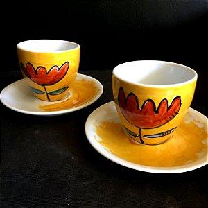 Conjuntinho 2 xicaras de chá  Flor