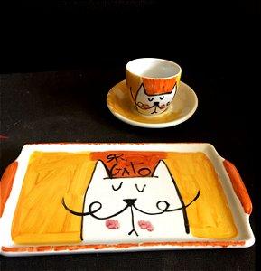 Conjuntinho xícara de café com pires e bandeja- Sr. GAto