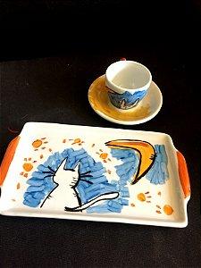Conjuntinho xícara de café com pires e bandeja- Gato e lua