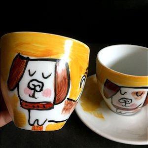 Conjuntinho 2 xicaras de chá  Cachorrinho feliz