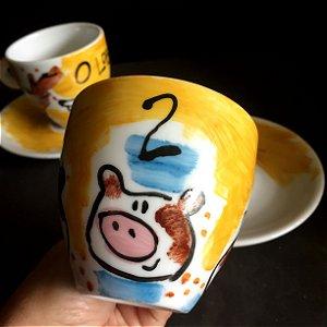 Conjuntinho 2 xicaras de chá  O Lobo e os 3 porquinhos