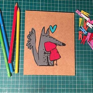 Plaquinha pintada à mão - Lobo e Chapeuzinho