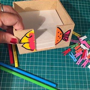 Porta papel anotações - Gatinho e peixe