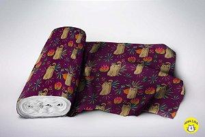 Tecido  -  Gatos exóticos fundo uva