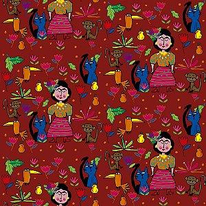 Tecido  -  Frida no jardim - telha