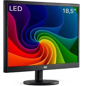 Monitor AOC LED 18.5´ HD Widescreen Ultra High DCR OSD VGA E970SWNL Preto