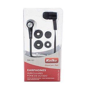 Fone de Ouvido Intra Auricular KOLKE C/ Microfone Preto