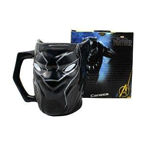 Caneca Formato 3d 450ml Pantera Negra Marvel Vingadores