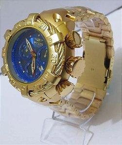 aaa01145fc4 Relogio invicta Dourado Azul Grande perfeito semi funcional