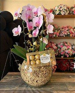 Orquídea pendente com Ferrero rocher