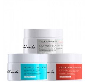 Let Me Be Kit Cronograma Capilar Biorestore + Recovery + Gelatina 250g