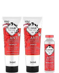 G.Hair Anti Emborrachamento Kit Shampoo + Tratamento + Ampola 25ml - 3 Produtos