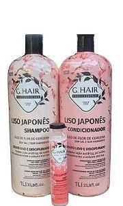 G.Hair Ampola + Shampoo + Condicionador Liso Japonês - 3 Produtos