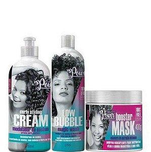 Soul Power Curly Kit Shampoo Creme e Máscara Cabelos Cacheados 3 Itens