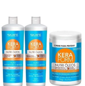 Skafe Keraform Kit Completo 3 Produtos Nutri Óleos Creme P/ Pentear 1kg