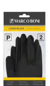 Marco Boni Luvas Black Profissional Tam P Reutilizável - 2 Unid Ref: 1495