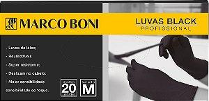 Marco Boni Kit 20 Luvas Black Profissional Látex preto Tam M - Ref 1454