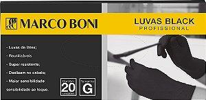 Marco Boni Kit 20 Luvas Black Profissional Látex preto Tam G Ref 1455