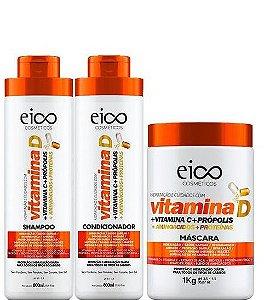 Eico Vitamina D Kit Tratamento Sh Cond e Máscara Capilar 3 itens