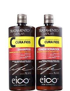 Eico Kit Cura Fios Shampoo e Condicionador Tratamento 2x1 litro
