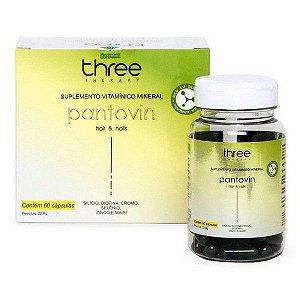 Three Therapy Pantovin Suplemento Vitamínico Mineral Cabelos e Unhas 60 Capsulas