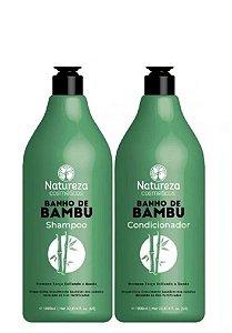 Natureza Cosméticos Kit Banho de Bambu Shampoo e Condicionador 2x1litro