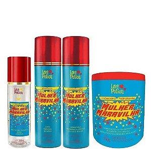 Love Potion Mulher Maravilha Hidratação Capilar Kit Completo (4 Produtos)