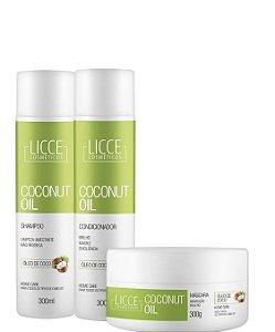 Licce Cosméticos Manutenção Coconut Oil Brilho e Maciez 3 Itens 300ml