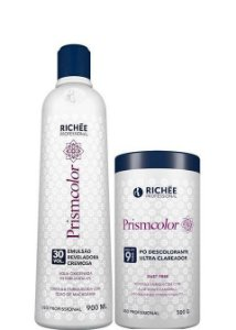 Richée Prismcolor Pó Descolorante + Emulsão Reveladora 30 Vol Kit