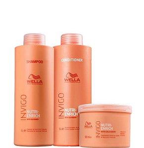 Wella Enrich Kit Shampoo Condicionador e Máscara Profissional 3 itens