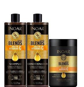 Inoar Coleção Blend Shampoo Condicionador Kit 2x1 Litro + Máscara 1kg
