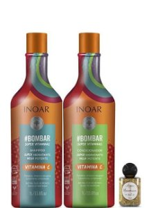 Inoar Bombar Kit Shampoo e Condicionador Vitamina C 2x1litro + Óleo