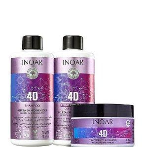 Inoar 4D Kit Shampoo e Condicionador 400ml + Máscara 250g
