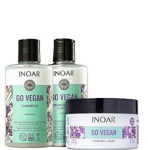 Inoar Go Vegan Antifrizz Shampoo e Condicionador 300ml + Máscara 250g