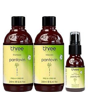 Three Therapy Kit Pantovin Life Shampoo e Máscara 2x250ml + Tônico 60ml
