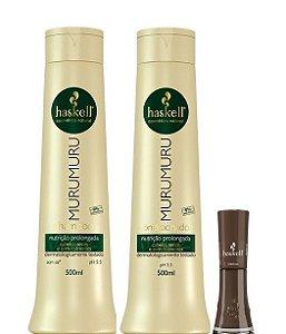 Haskell Murumuru Kit Shampoo e Cond Nutrição Prologada 2x500ml + Esmalte