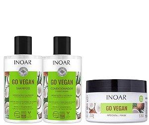 Inoar Go Vegan Shampoo, Condicionador e Mascara Óleo De Coco 3 Itens