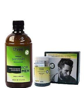 Three Therapy Shampoo e Suplemento Vitamínico Mineral For Men 2 itens