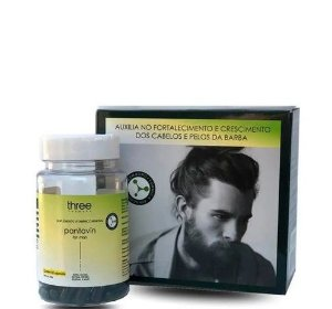 Three Therapy Suplemento Vitamínico For Men Cabelo e Barba 60 Cápsulas