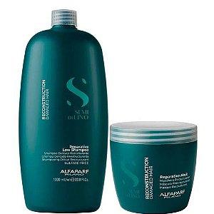 Alfaparf Semi Di Lino Reconstruction Shampoo 1L e Máscara 500ml