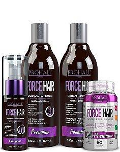 Prohall Kit De Fortalecimento e Crescimento Capilar Force Hair 4 Itens