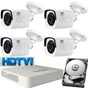 Kit Hdtvi Jfl 4 Câmeras 1mp 720p Dvr 8 Canais Wd-4208 Hd 1tb