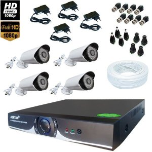 Kit Dvr 04 Cameras Ahd Infra Jortan Full Hd Alta Resolução